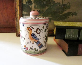 Vintage Casa Fina Hand Painted Bird and Floral Box, Home Office Decor, Portugal Made, Vintage Gift, Nazari Pattern