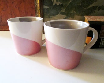 Starbucks Pair of Pink,White, Mocha Coffee Mugs, Swirl Tea Mugs, Starbucks Coffee, 12 Ounces, Gift For Coffee Lovers