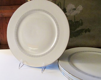 Four Greek Key Plates, Furstenberg Germany, Kate Spade Style, Retro 1960's Dinner Plates,