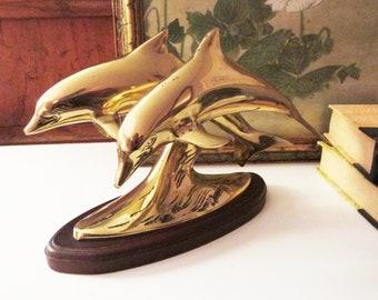 Vintage Brass Sculpture, Mounted Brass Dolphins, Beach Coastal Decor, Bookcase Decor