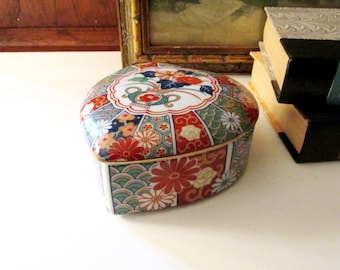 Vintage Imari Arita Style Trinket Box, Large Heart Shaped Chinoiserie Porcelain Box, Oriental Decor, Vintage Gift