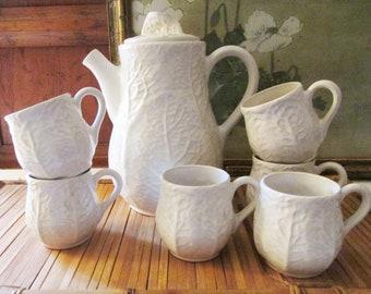 Vintage Sigma Taste Setter Chocolate Pot Set, Cabbage Leaf, Majolica, Pottery Chocolate Majolica Pot and Six Cups, Rare Cabbage Leaf Set