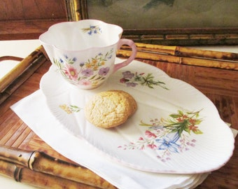 """Vintage Shelley Teacup and Snack Tray, """"Wildflowers"""", Shelley England Romantic Cottage China"""