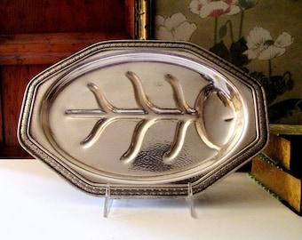 Vintage Silver Hammered Meat Platter, Art Moderne Meat Tray, Thanksgiving or Christmas Platter, Footed Platter