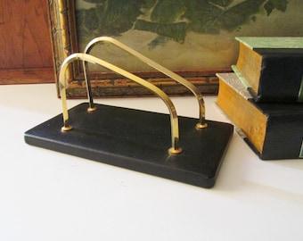 Vintage Leather and Brass Letter Holder, Hollywood Regency Home Office, Note Holder, Cellphone Holder, Letter Organizer, The Gilded Tassel