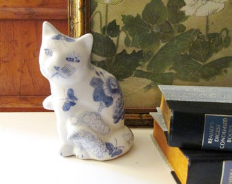 Vintage  Blue and White Floral Pottery Cat,  Hand Painted Cat, Cat Figurine, Boho Decor