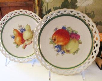 Vintage Pair of Bavaria Wall Fruit Plates, Winterling, German Porcelain, Pears and Apples
