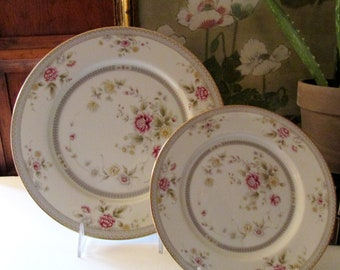 Mikasa Devonshire Dinnerware, Grande Ivory Pattern, Floral Dining, Gold Band Floral Dinner Plate, Grey Porcelain 1980's Dinnerware