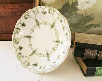 """Antique English Art Nouveau Bowl, """"Trent"""" Pattern from New Wharf Pottery of England, Green and White Ironstone Serving Bowl"""