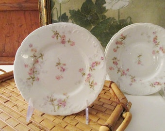 Theodore Haviland France. Set of Six Small Plates, Bread and Butter Plates, Vintage French China, Romantic Dinnerware D