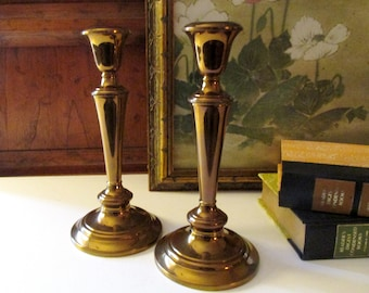 Gorham Brass Candlestick, Vintage Brass Candlesticks, Pair of Brass/Copper Tone Candle Holders, Hollywood Regency, Coffee Table Decor
