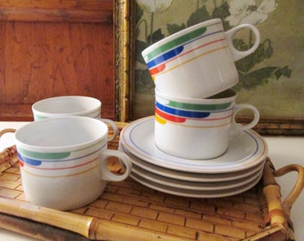 """Four """"Hi Fi"""" Studio Nova Primary Gallery Cups and Saucers, Rainbow Coffee Cups, Set of Four"""