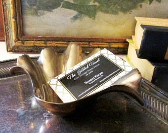 Hollywood Regency Brass Clam Tray, Trinket Tray, Business Card Holder, Soap Dish, Beach Coastal Decor, Brass Catchall, Entry Table Dish