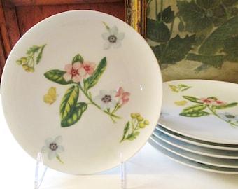 Eight Georges Briard Botanica Plates, Garden Salad/Dessert Plates, Alfresco Dining, Palm Beach Decor, Cottage Chic, Wedding Floral Plates