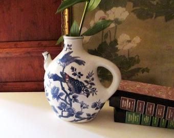 Blue and White Chinoiserie Vase, Porcelain Jar Vase, Baum Bros Formalities, Blue Peony, Oriental Vase, Palm Beach Decor