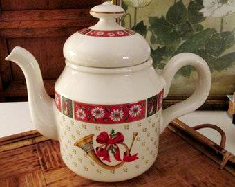 Charlton Hall by Kobe Teapot, NIB, Christmas Coffeepot, Chinoisere Xmas Dinnerware, Rocking Horse Teapot, 1980's Christmas Teapot