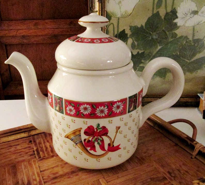 Charlton Hall by Kobe Teapot NIB Christmas Coffeepot image 0