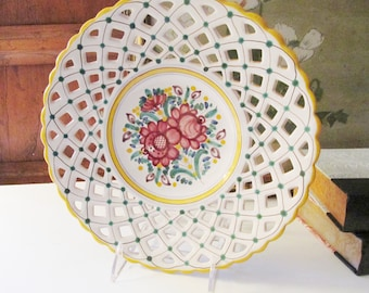 Vintage Modra Wall Plate, Lattice Design Work, Pottery Floral Plate, Hand Painted Decorative Plate, Sunroom Decor