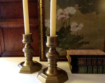 Hollywood Regency Brass Candlesticks, Octagonal Design, Andrea by Sadek, Mantel Decor, Traditional Decor
