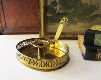 Vintage Brass Candleholder with Handle, Gallery Tray Candlestick, Chamber Candlestick, Williamsburg, Holiday Decor