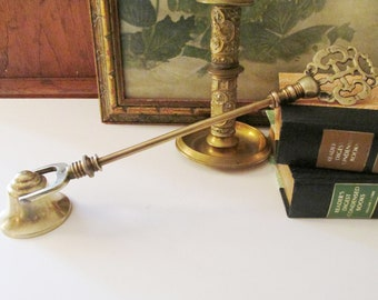Vintage Large Brass Candle Snuffer, Ornate Brass Candle Snuffer, Candle Accessory, Candle Extinguisher, Hinged Snuffer