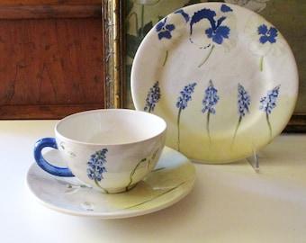 "Vintage Gien France ""Alice"" Dinnerware, French Porcelain, Salad Plate, Breakfast Cup and Saucer"