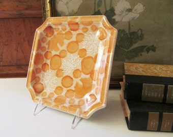 Palm Beach Decor Porcelain Tray, Home Office Decor, Coffee Table Decor, Coral and Orange Catchall, Lotus and Mums Flower Dish