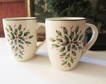 Two Lenox Holiday Coffee Mugs, Holly Leaves, Christmas Gift, Pair of Christmas Mugs