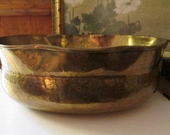 Large Hollywood Regency Brass Cachepot, Vintage Brass Pot, Brass Planter, India Brass, Boho Chic, Rustic Brass Decor