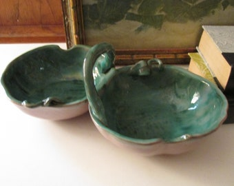 Vintage Stangl Terra Rose Handled Serving Bowl, 1950's Art Pottery Tray, Candy Bowl, Boho Decor