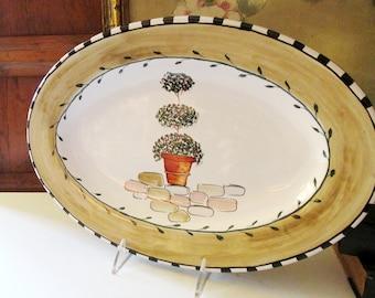 Vintage Italian Deruta for Vespucci, Ltd, Topiary Platter, Hand Painted Wall Decor, Pottery, Tuscan Decor