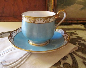 Vintage Royal Albert Teacup and Saucer, Turquoise and Gold, Vintage Gift, Grandmillennial Style, Gilded Bone China England Teacup