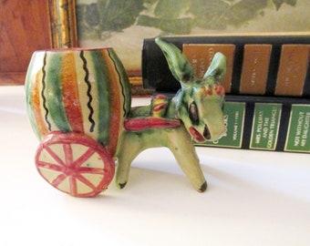 Vintage Italian Donkey Toothpick Holder, Match Holder, Italian Pottery, Vintage Gift, Boho Pottery, Plant Holder