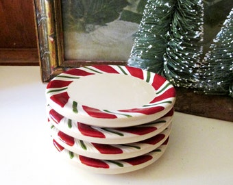 """Four Vintage Longaberger Pottery Coasters, Christmas Coaster, """"Peppermint Twist"""" Red & Green Coasters, NIB"""
