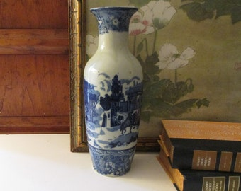 Vintage Blue and White Transferware Vase, Victoria Ware Ironstone, Reproduction Vase