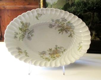 """Vintage Haviland Limoges """"Margaux"""" Oval Serving Bowl, French Gilded Vegetable Bowl, Romantic China"""