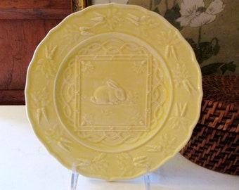 Vintage Bordallo Pinheiro Rabbit Plate, Easter Yellow Bunny Accent Plate, Easter Decor