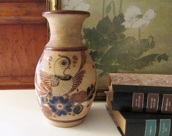 Vintage Mexican Tonala Vase, Hand Painted Bird, Folk Art Pottery, Boho Vase, Sandstone Pottery Vase
