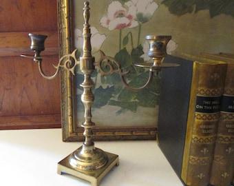 Vintage Brass Candelbra, Willliamsburg Brass Decor, Two Armed Candlestick Holder, Farmhouse Brass, Marked EB
