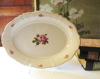 Vintage Syracuse China Platter, Victoria Tray, Romantic Cottage, Rose Garden Platter, American Made