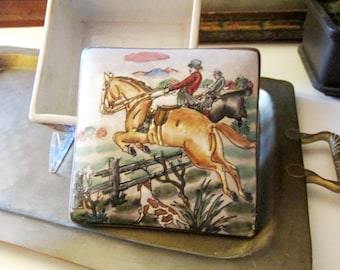 Vintage Bombay Company Equestrian Box, Preppy Decor, Gift For Horse Lover, Fox Hunt Tinket Box, Decorative Office Home