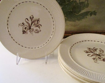 "Six Vintage Rorstrand Sweden ""Diana"" Plates, Creamware Salad Plates, Wedgwood Style, Neoclassical Dinnerware"