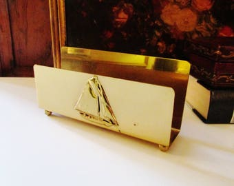 Reserved...Vintage Brass Letter Holder, Nautical Sailboat, Home Office Decor, Nautical Decor, Brass Mail Organizer