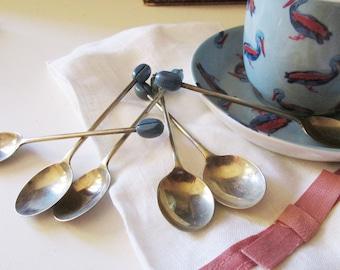 """Vintage Boxed Set of Demitasse Coffee Spoons, Set of Six """"Coffee Bean"""" Motif Spoons"""