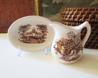 Vintage Maddock England Brown Transferware, Bombay, Mini Creamer, Bowl, Brown and White Hand Engraved, English Cottage