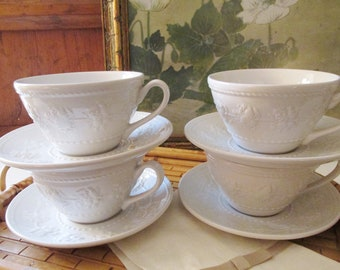 """Four Vintage Wedgwood Home Cups and Saucers, """"Festivity"""", Made in England, Coffee Cups, Teacups, White Earthenware Embossed"""