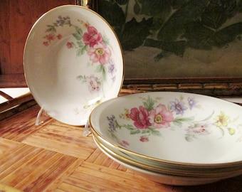 Set of Four Fruit Bowls, Spring Bouquet, Bavaria Tirschenreuth Germany, Small Bowls. Tea Party Decor, Romantic Dining