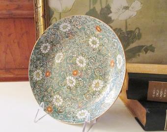 Vintage Porcelain Cloisonne Style Dish, Chinoiserie Decor,  Coffee Table Decor, Oriental Floral Catchall, Japanese Porcelain