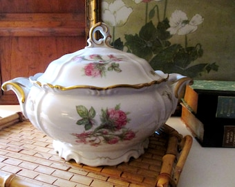 Moss Rose Covered Vegetable Dish, Edelstein Germany, Gilded Scallop Pink Rose Bud Dish, Formal Dining, Tea Party Centerpiece, Wedding China