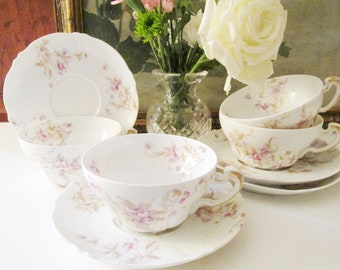 Four Theodore Haviland Limoges Teacup and Saucers, French Floral Teacups, Romantic China, Tea Party Decor